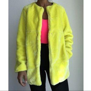 ZARA soft faux fur yellow coat jacket S